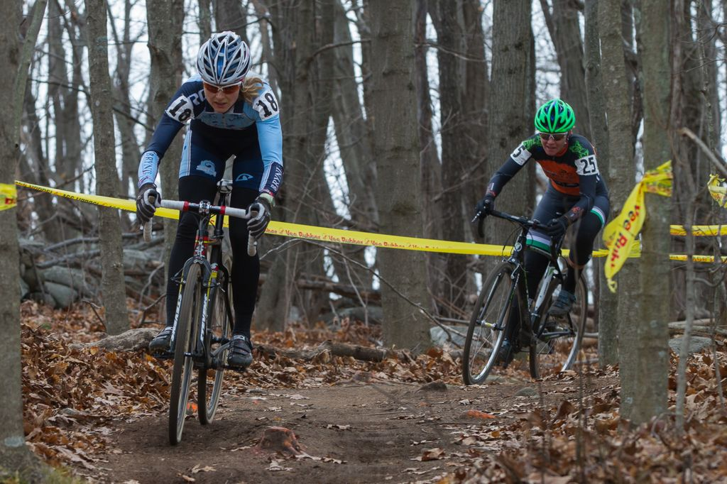 Natasha Elliott and Jenny Ives dodge the plentiful rocks and roots that could cause racers trouble. © Todd Prekaski