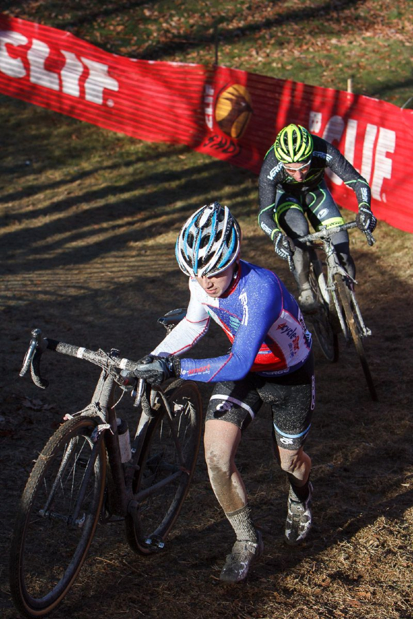 Ian Keough, wearing the Junior 15-18 Verge New England Cyclocross Series leader\'s jersey, just in front of Mike Magur, who claimed the leader\'s jersey in the 35+ category today at Baystate 2013. © Russ Campbell