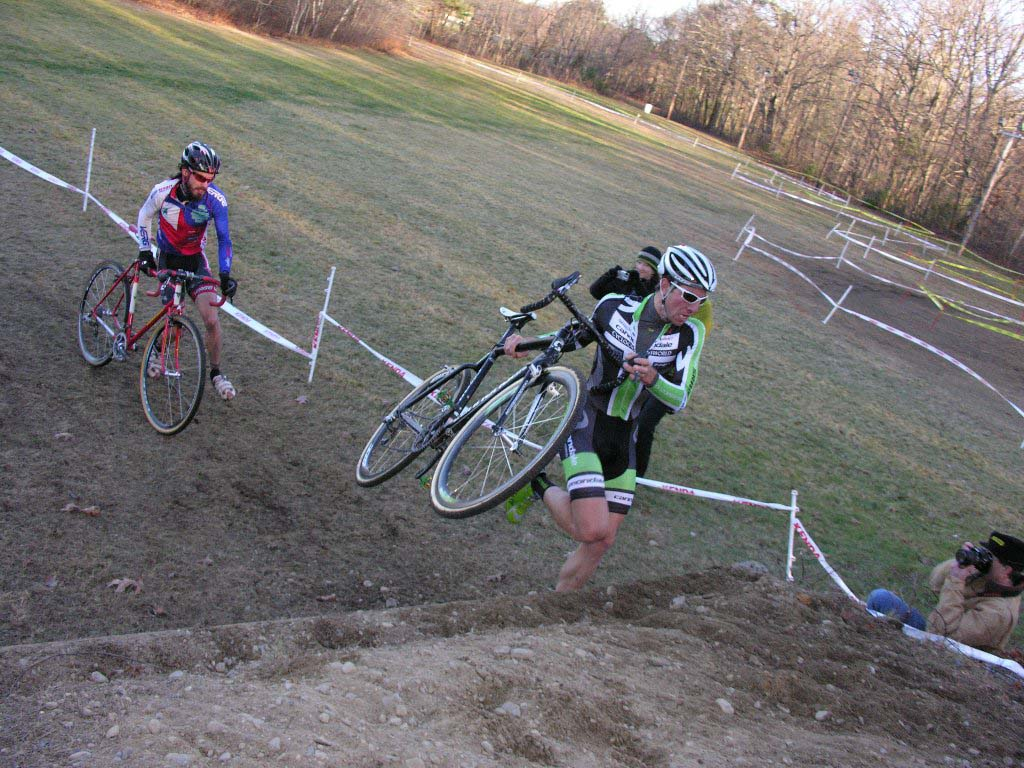 Powers and Timmerman over the Horse Vault. Baystate Cyclocross, Day 1. ? Paul Weiss