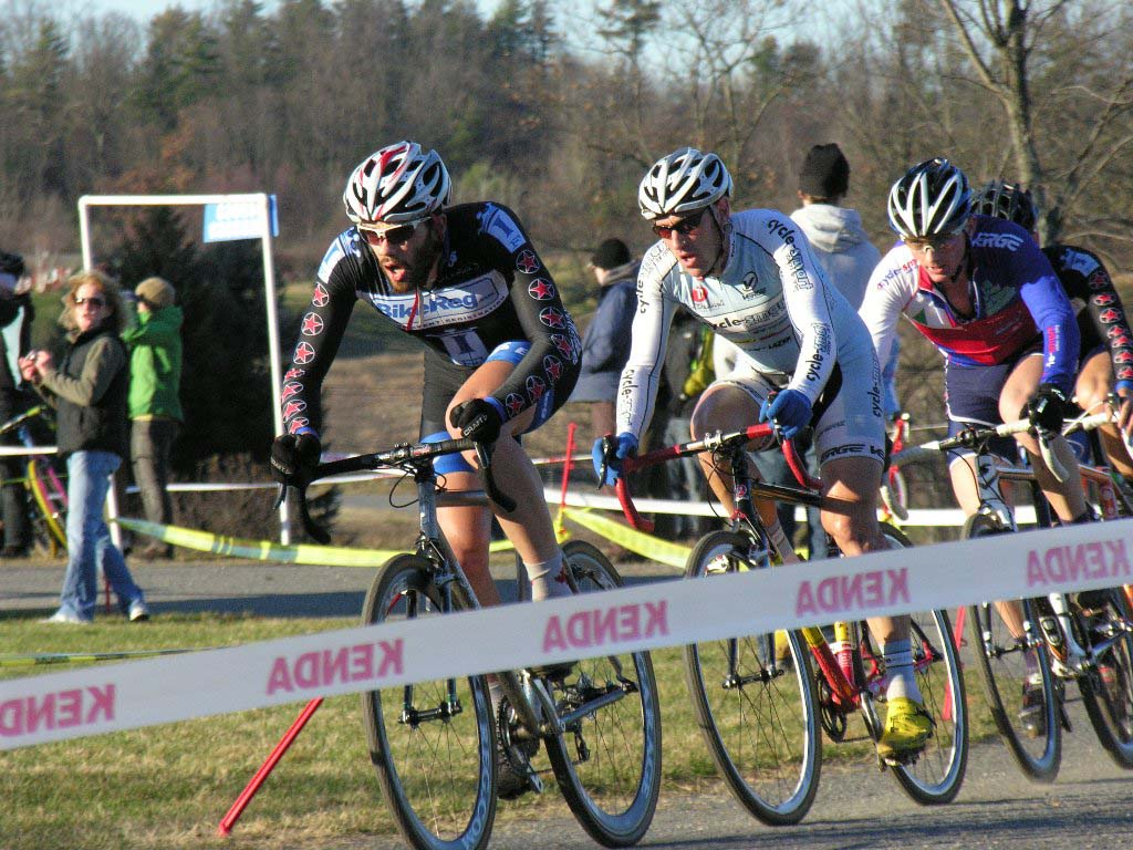 Nathaniel Ward leads Adam Myerson and Luke Keough. Baystate Cyclocross, Day 1. ? Paul Weiss
