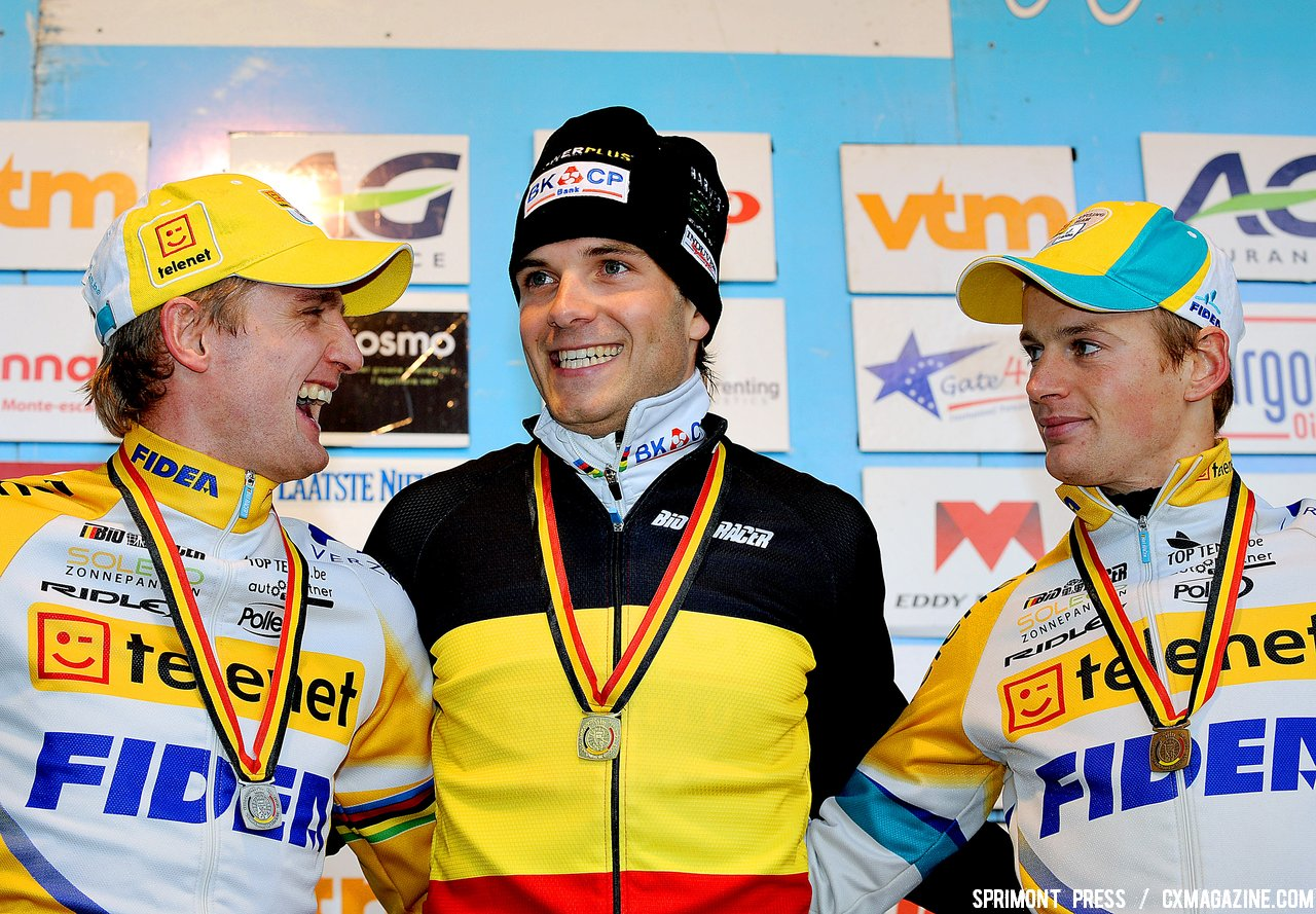 Bart Wellens (2nd), Niels Albert Winner and Kevin Pauwels (3rd) on the podium of the 2011 Belgian Championship cyclo cross race in Antwerpen. Sunday Jan. 9, 2010. ( SPRIMONT PRESS / Laurent Dubrule )
