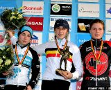 Van Den Driessche Femke on the podium, winner of the junior women 2011 Belgian National Championship cyclocross race in Antwerpen. Sunday Jan. 9, 2010. ( SPRIMONT PRESS / Laurent Dubrule )