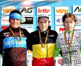 Nancy BOBER (2nd), Sanne CANT winner and Joyce VANDERBEKE (3rd) on the podium of the elite women 2011 Belgian National Championship cyclocross race in Antwerpen. Sunday Jan. 9, 2010. ( SPRIMONT PRESS / Laurent Dubrule )