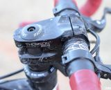 A Thompson Elite x4 mountain bike stem is used to bring the reach in. © Cyclocross Magazine