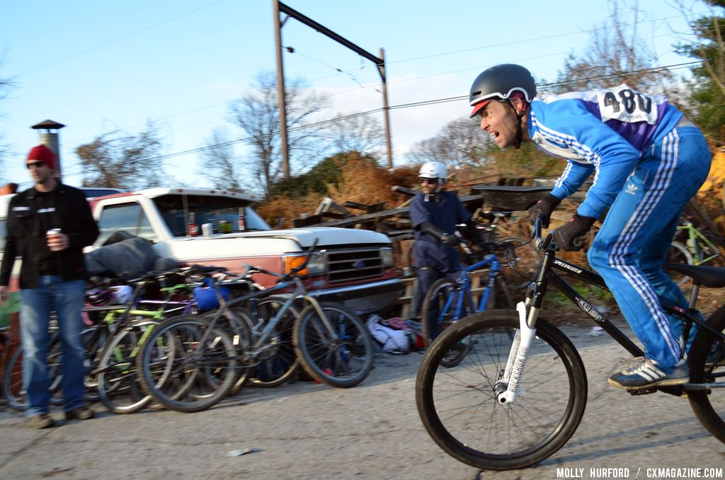 Dan Langlois, game face on and going for third in the Men\'s A race at Bilenky Junkyard Cross. © Cyclocross Magazine