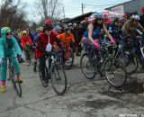 The (heavily costumed) women's start at Bilenky Junkyard Cross. © Cyclocross Magazine