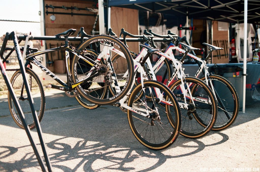 The Fuji Demo Tour was also on hand to let racers try out some of Fuji's new cyclocross bikes (the photo of the bikes hanging up). © Rudy Gonzalez