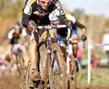 A muddy affair today on parts of the course, made for some good cyclo-cross racing. © 2011 Jody Grigg