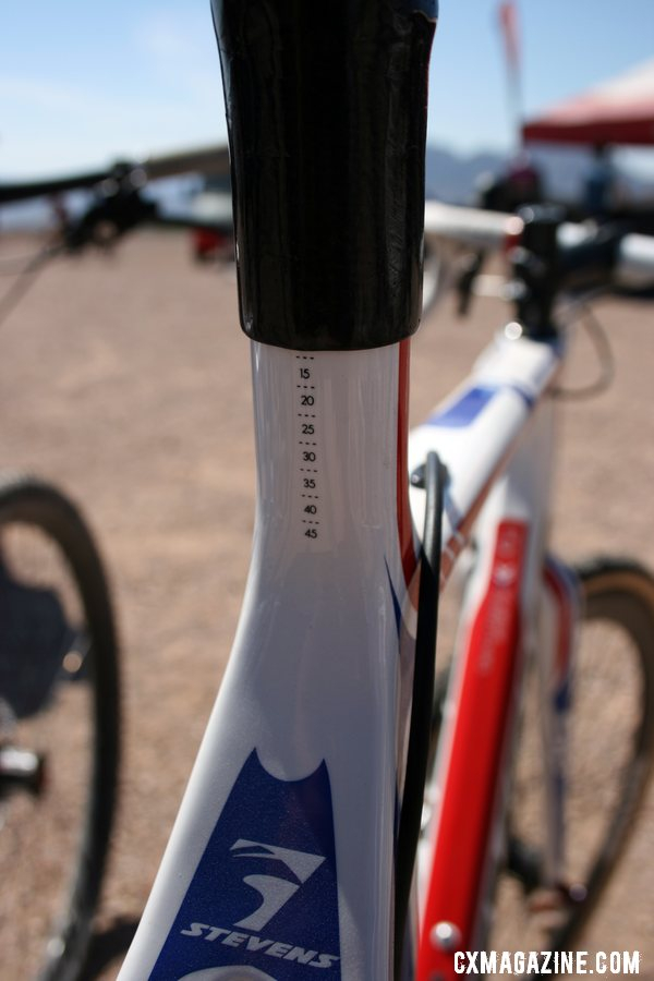 A graduated size chart on the seat mast makes it easy to set the seat height.  © Cyclocross Magazine