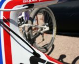 Stevens Super Prestige's features internal cable routing and a massive headtube. © Cyclocross Magazine