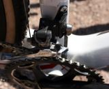 A massive bottom bracket, Shimano CX750 front derailleur mated to SRAM Double Tap levers create a mix-and-match shifting system that works. © Cyclocross Magazine