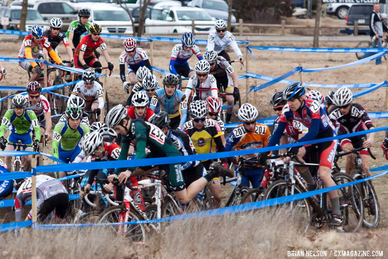 Pile-up on the first lap.  ©Brian Nelson