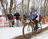 Amy Dombroski rolls solo at the Elite World Championships of Cyclocross 2013. © Brian Nelson