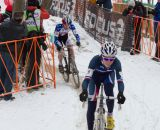 Clement Russo leads Logan Owen in the 17-18 field at the Elite World Championships of Cyclocross 2013. © Brian Nelson