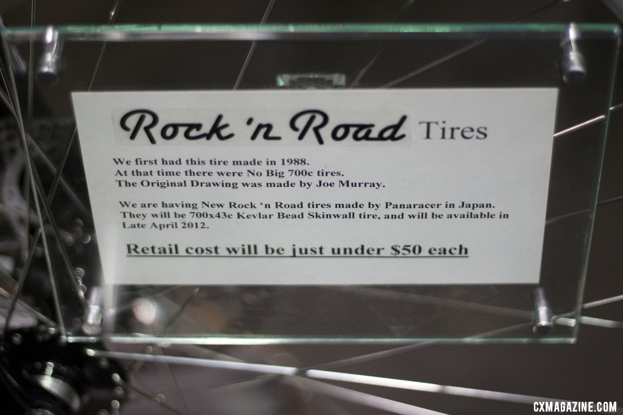 Bruce Gordon is bringing back the Rock \'n Road Tire, the original big 700c mixed terrain/29er tire. This version will be slightly wider at 43c, and folding. ©Cyclocross Magazine