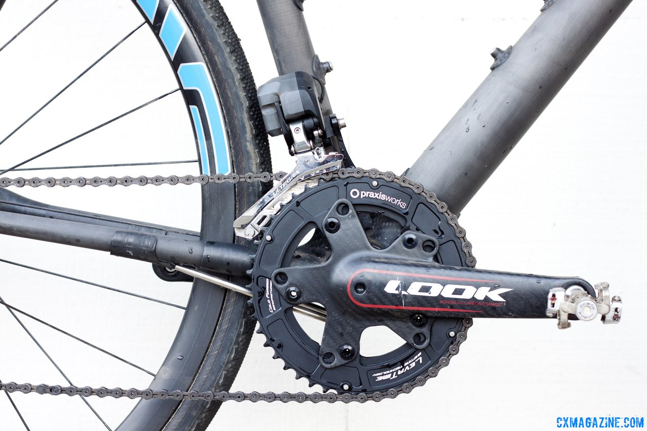 Praxis Works 110mm BCD cyclocross chainrings mount to Look\'s ZED2 crankset on the NAHBS Calfee Manta CX Prototype. © Cyclocross Magazine