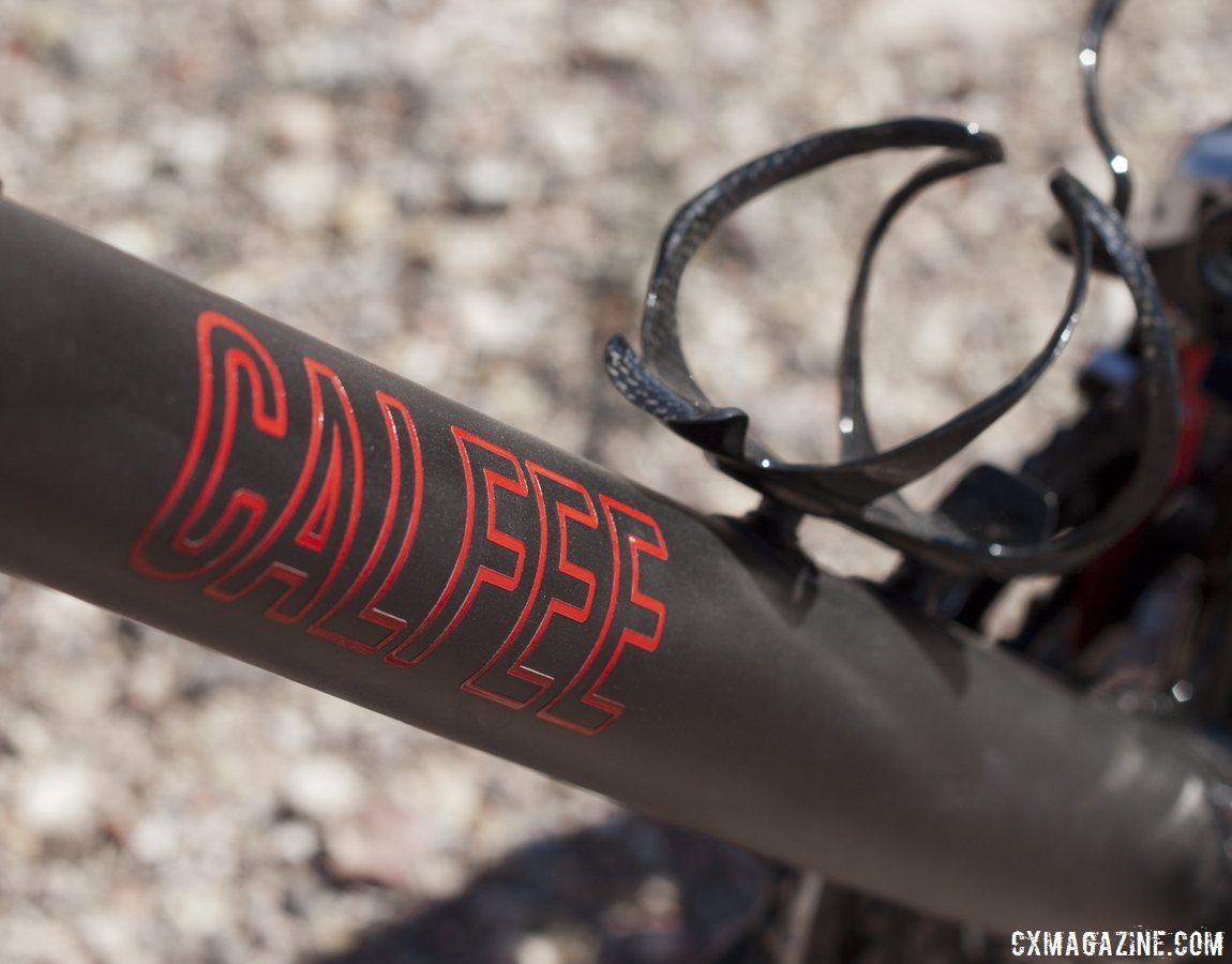 A bold new logo on Calfee's new Manta softtail suspension platform for road and cyclocross bikes. © Cyclocross Magazine