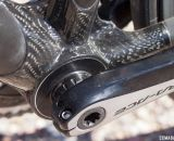"Calfee's new Manta softtail suspension platform for road and cyclocross bikes features Look's massive bottom bracket shell, but adapters are available for ""standard"" cranksets. © Cyclocross Magazine"