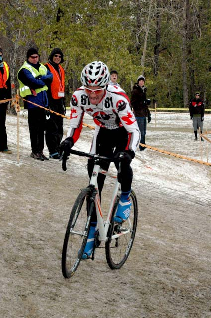 Evan Guthrie on a tricky section of frozen ground on his way to U23 victory.