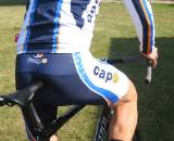 Capo bib shorts and long sleeve jersey with merino wool socks. by Kristie Hancock
