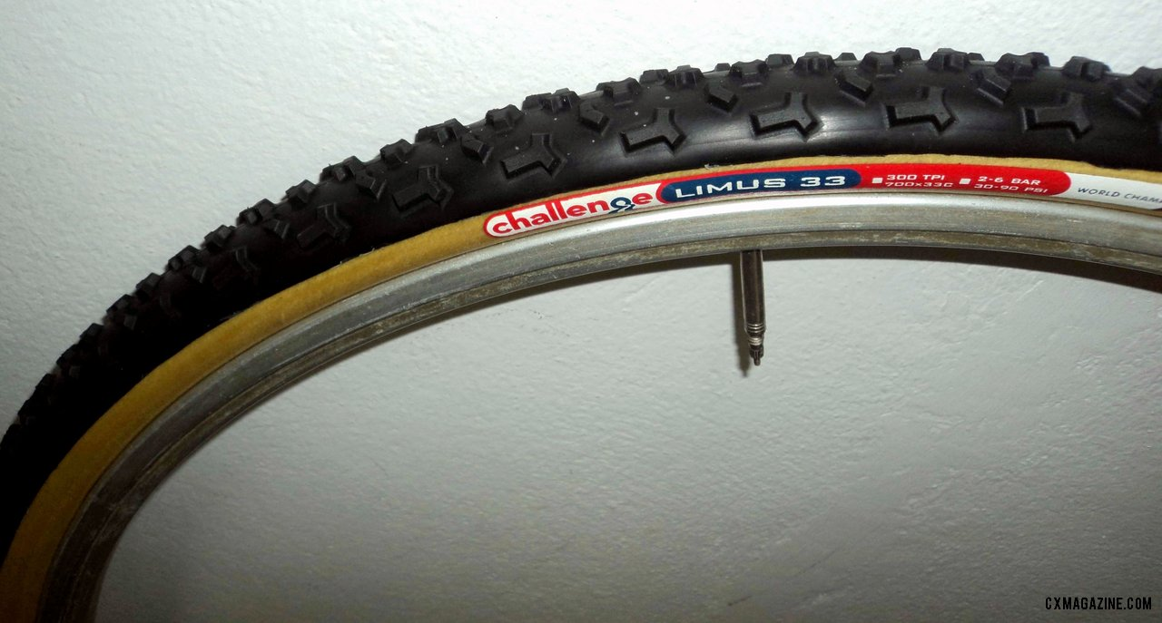 The Challenge Limus tubular tire features large, tall shoulder knobs.