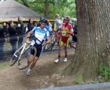Mike Garrigan leads into the tree barrier. Running around the tree barriers.  © Cyclocross Magazine