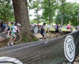 Running around the tree barriers.  © Cyclocross Magazine