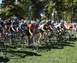 Cat 4 Women get underway at the Chicago Cross Cup at Hopkins Park in Dekalb Illinois. ©  Aaron Johnson.