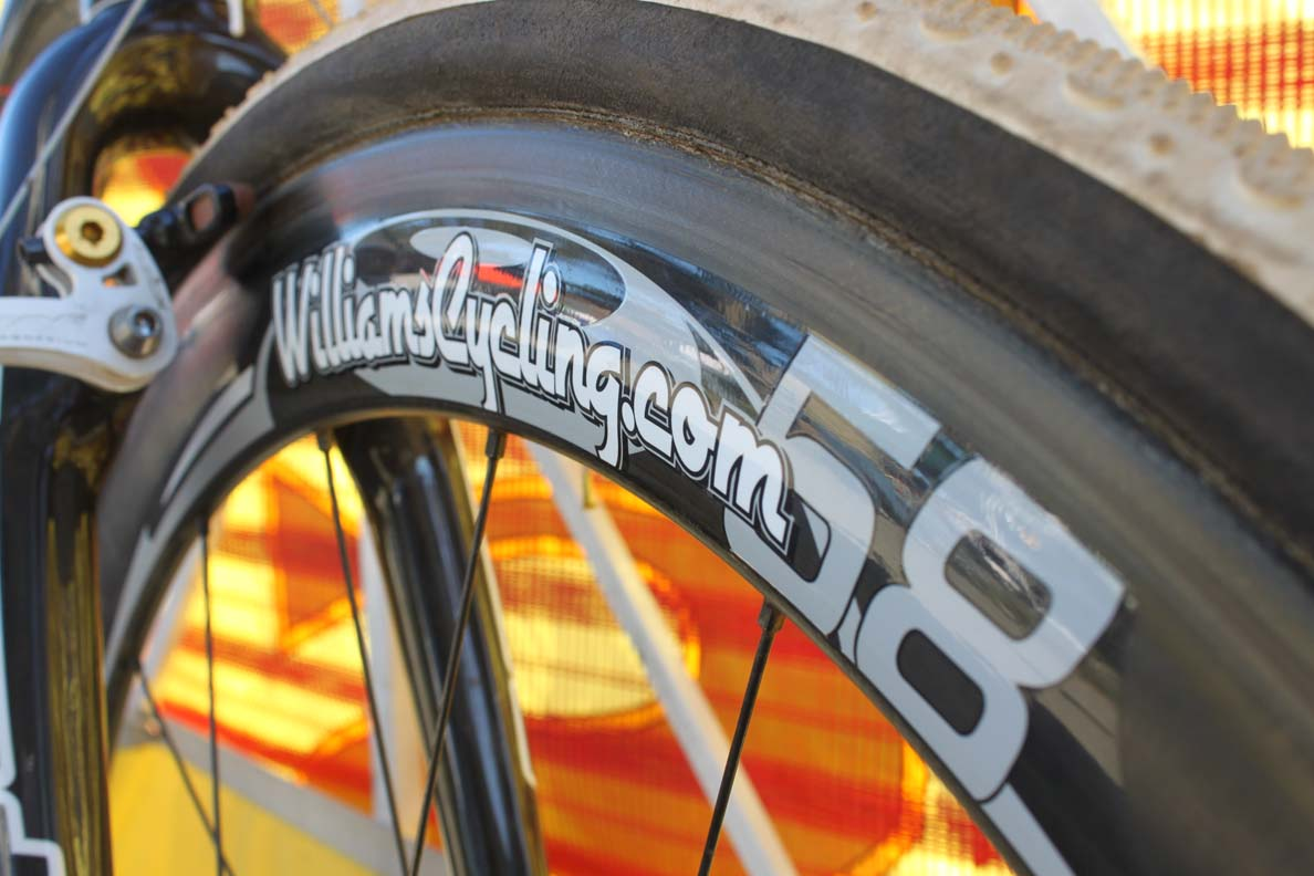 Jones was riding Williams Cycling's 58mm carbon tubulars at Golden Gate. ? Cyclocross Magazine