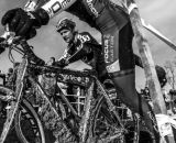 Jeremy Durrin remounts at the 2013 Cyclocross National Championships. © Chris Schmidt
