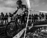 Taking a corner fast at the 2013 Cyclocross National Championships. © Chris Schmidt