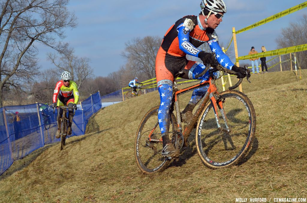 Page\'s kit is his old Richard Sach national champion kit under his current team kit at Cincinnati Kings International Cyclocross. © Cyclocross Magazine