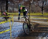 Trebon takes a slick corner fast at Cincinnati Kings International Cyclocross. © Cyclocross Magazine
