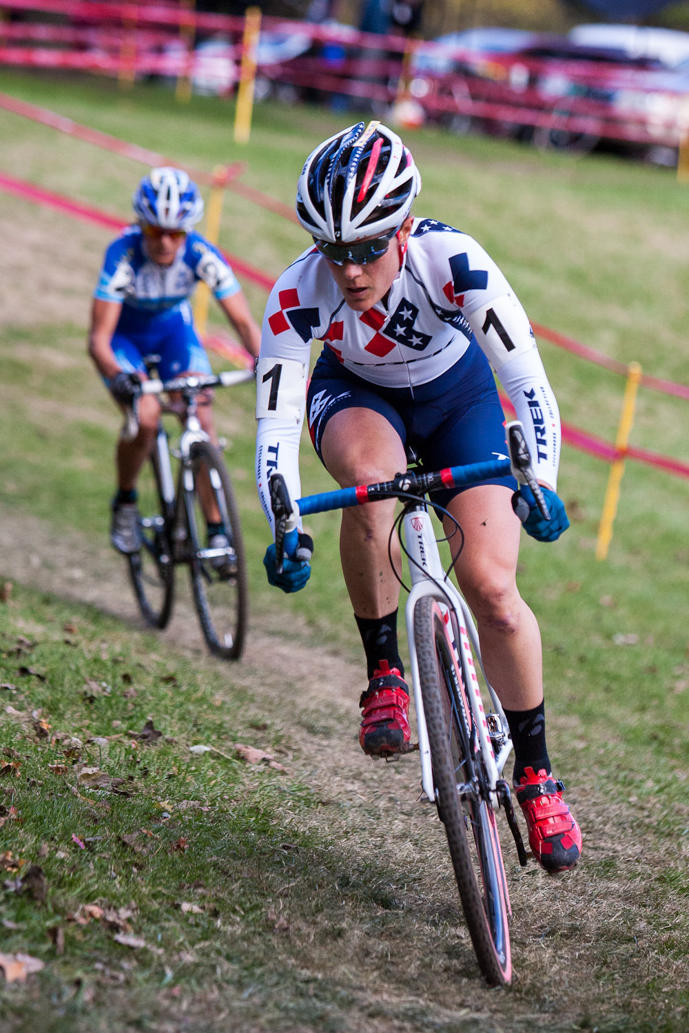 Katie Compton with two bike lengths over Katerina Nash. © Kent Baumgardt