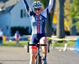 Katie Compton crosses the line for her second win in as many days. ©Jeffery Jakucyk