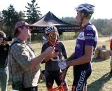 Pat Malach and a multi-tasking Liberles interview Trebon post-race © Dave Roth