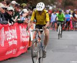 Carl Decker crosses the line Sunday for the win at Sunday's Halloween Cross Crusade costume race. ©Pat Malach