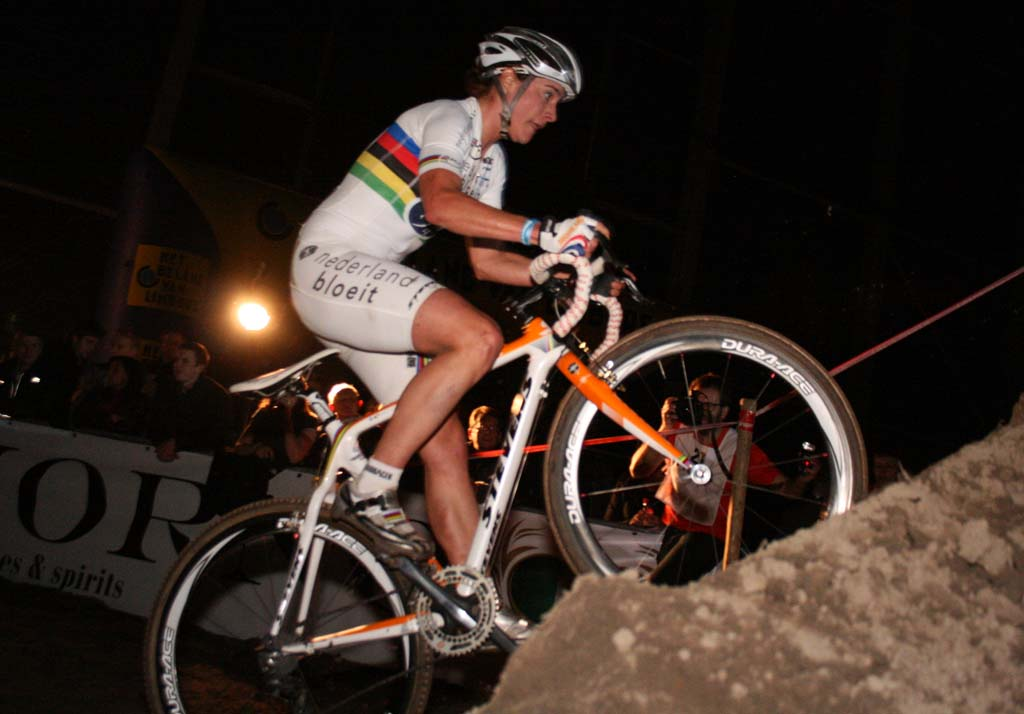 Vos attempts the incline that organizers added to the terrain. ? Bart Hazen
