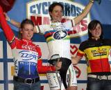 Van Den Brand (l), Vos and Cant on the podium after the elimination race. ? Bart Hazen