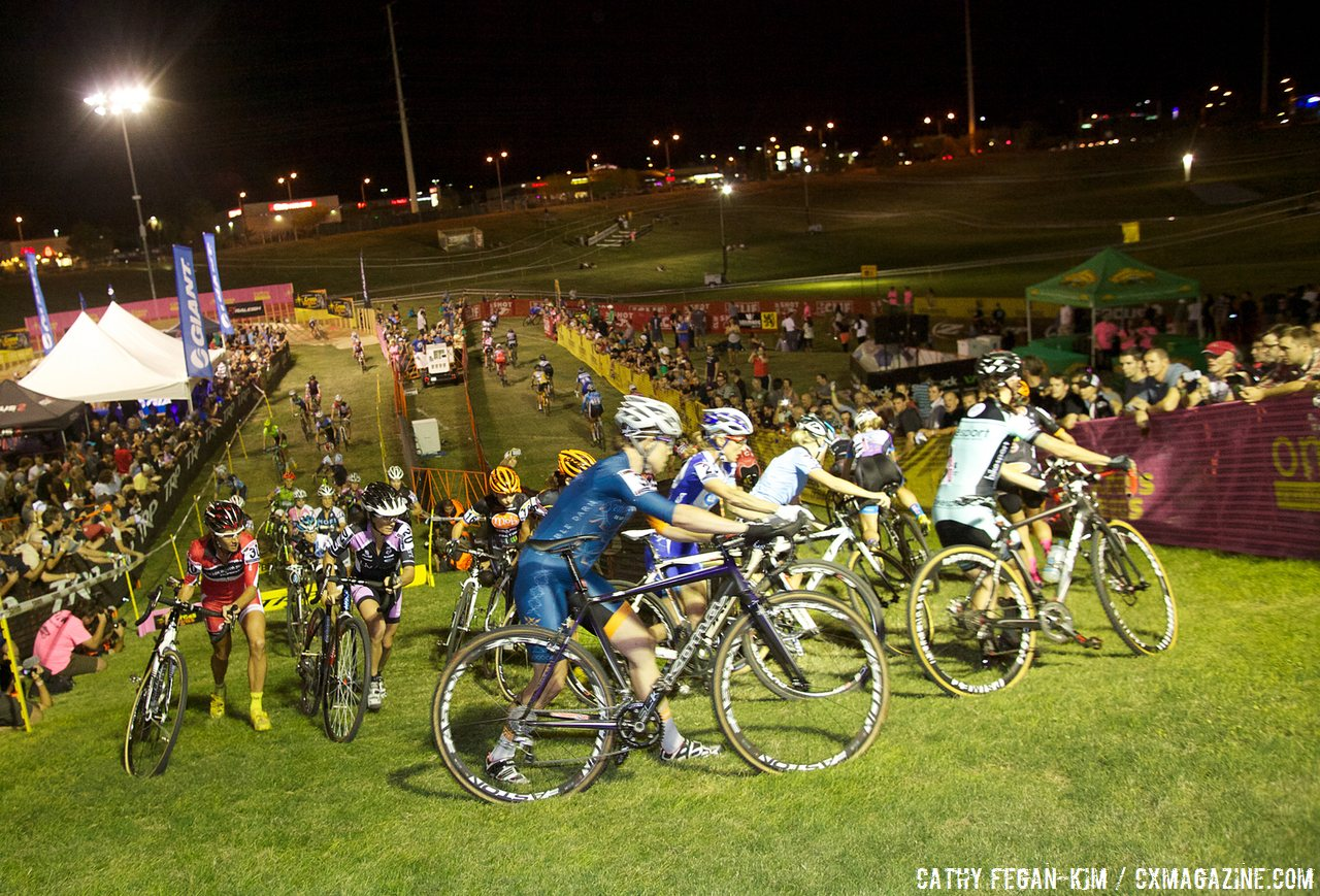 The women\'s peloton at a Cross Vegas 2013. © Cathy Fegan-Kim / Cyclocross Magazine