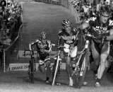 Lapped riders provided the biggest barrier on the course for the leaders, and proved disastrous for Christian Heule. © Joe Sales
