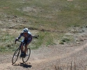 Gregory hammers while riding solo, leading the pack in Sunday's Race #2. by Karen Jarchow