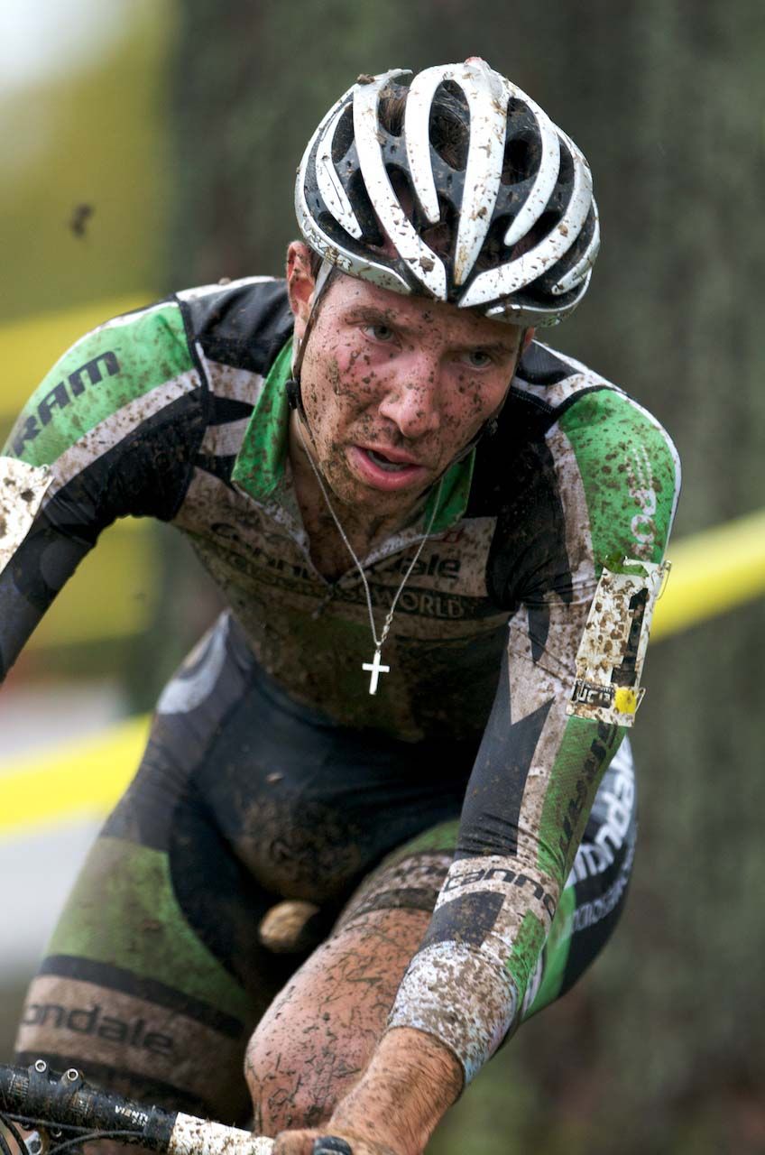 Jeremy Powers stretched out a gap to a huge lead after Trebon flatted. ? Mitch Clinton