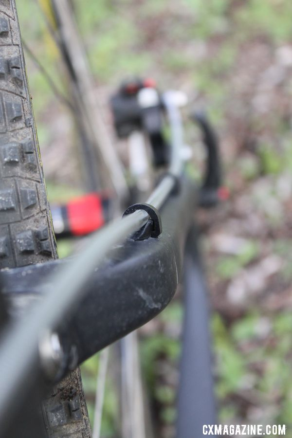 Full length housing holds hydraulic fluid - often mineral oil. © Cyclocross Magazine