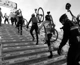 The wooden stairs created only the second required dismount on the course. ? Joe Sales
