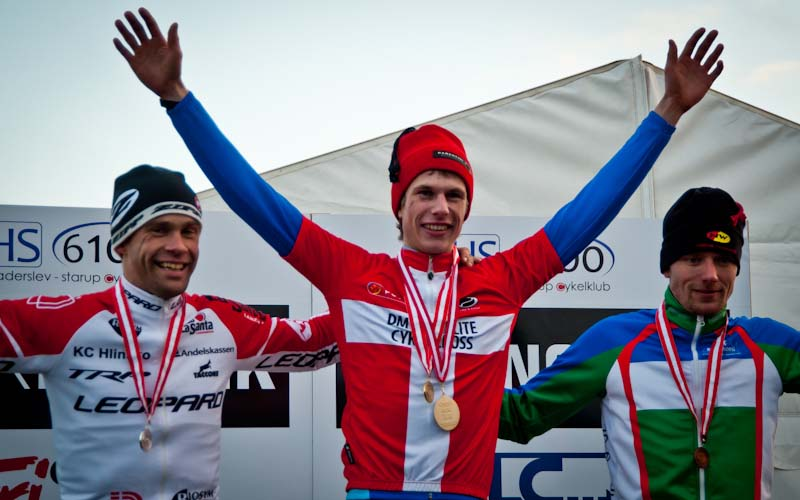 The men\'s podium (l-r) - Parbo, Hansen and Tommy Nielsen. © www.richardskovby.com