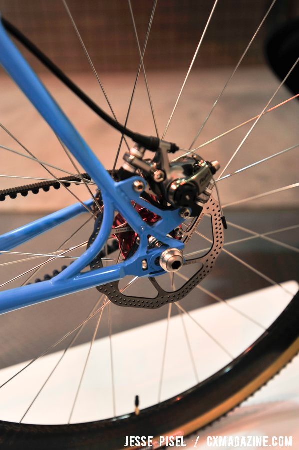 A closeup of the Chris King hub and belt drive on the Geekhouse frame. NAHBS 2013 © Jesse Pisel