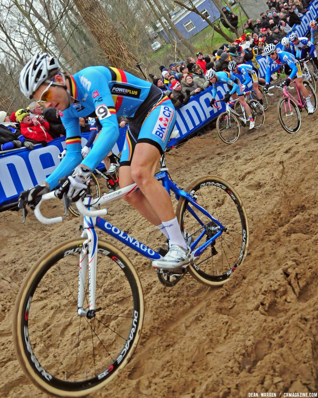 Belgium Niels Albert jumps out front at start of Koksijde Cyclocross Elite Men Worlds © Dean Warren