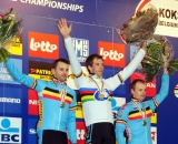 All Belgium Podium (L-R) Peeters Albert Pauwels Cyclocross Worlds Elite Men © Dean Warren