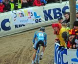 Albert riding away from field at Koksijde Cyclocross Worlds © Dean Warren